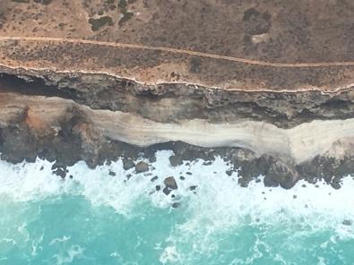 Spearmint sea on limestone cliffs cliffs from around 6000ft